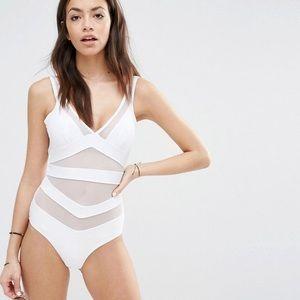 797e51905 Ted Baker London Swim - New Ted Baker white mesh plunge one piece swimsuit